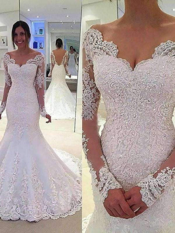 Elegant Tulle Mermaid Deep V-Back Long Sleeves Court Train Wedding Dresses with Lace W294