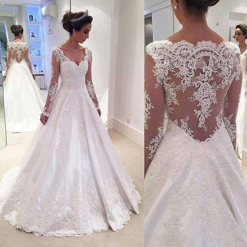 Elegant V Neck Long Sleeves Ball Gown Lace Wedding Dress with Appliques W556