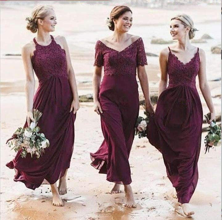 Elegant V Neck Sleeveless A Line Chiffon Bridesmaid Dresses With Lace