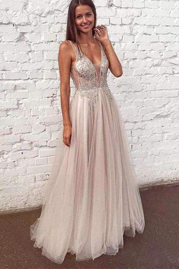 Elegant V Neck Sleeveless Floor Length Tulle Party Dresses Prom Dress with Appliques P929