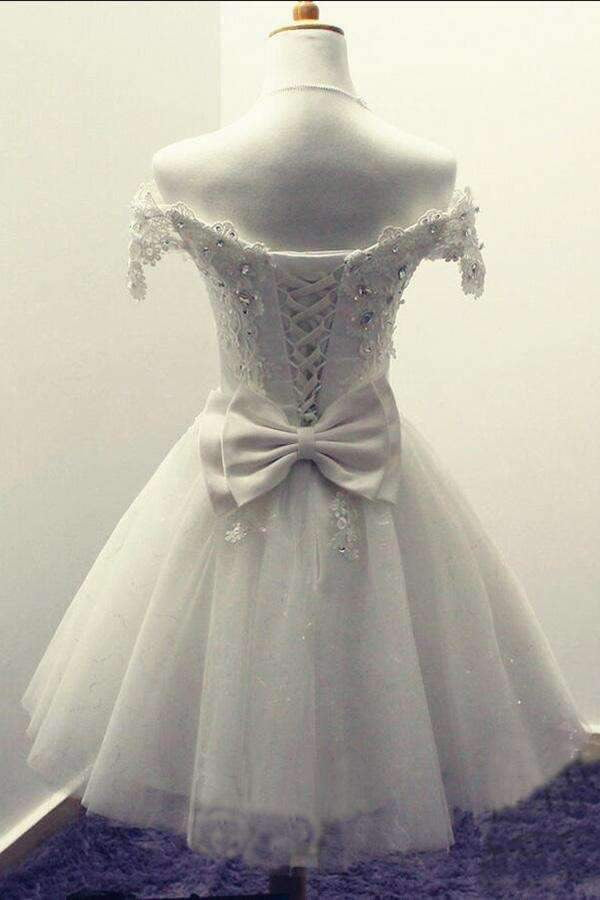Elegant White Off-shoulder Tulle lace up Bowknot Appliques Homecoming Dresses M308