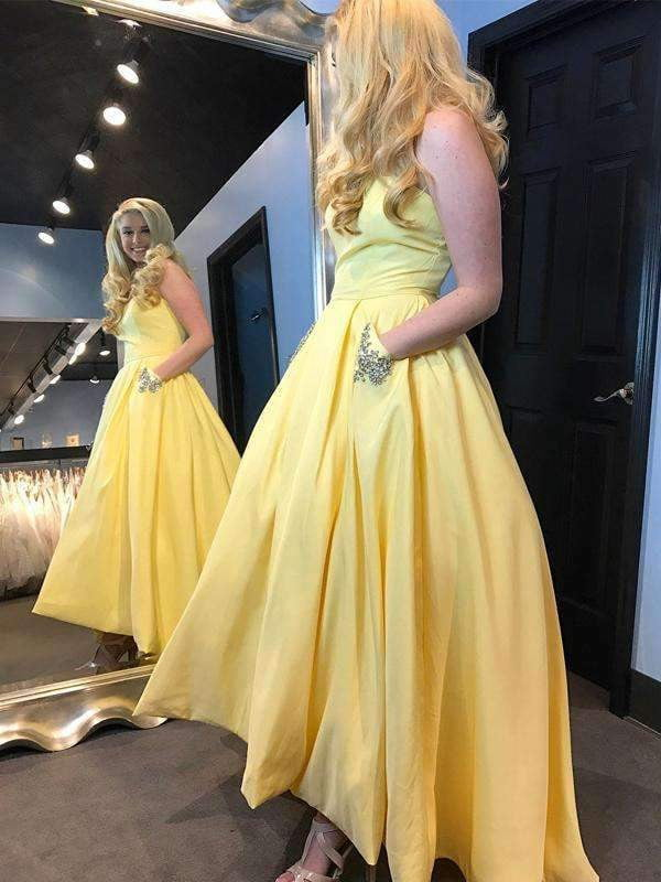 Elegant Yellow Satin High Low Sleeveless Simple Ball Gown Long Prom Dresses,PD0052