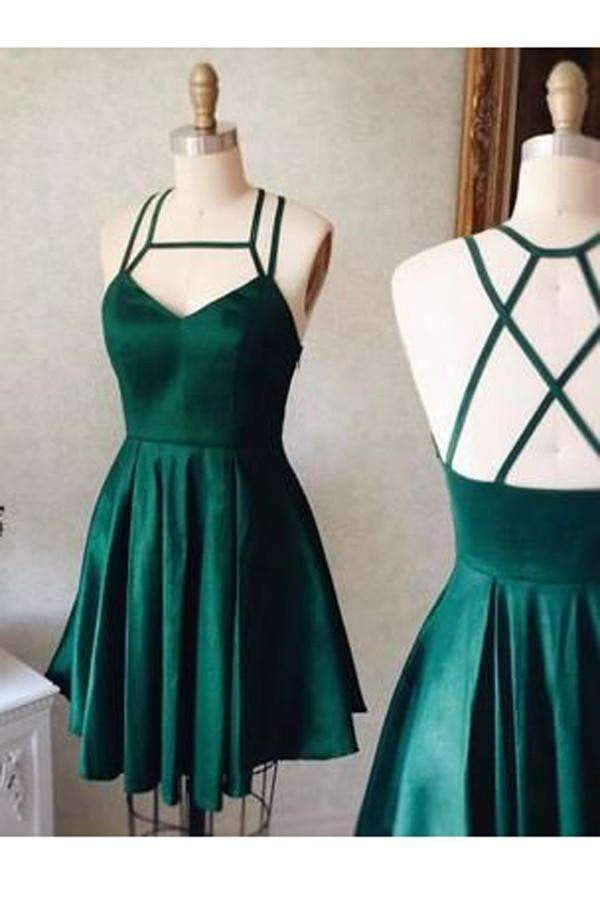 Emerald  A-Line Homecoming Dresses,Tie Back Satin Sleeveless Short Prom Dresses2019 HCD47