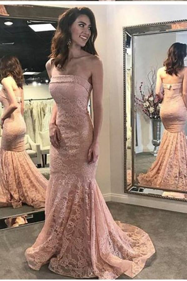 Simple Mermaid Strapless Lace Appliques  Sweep Train Sleeveless Prom Dress P787