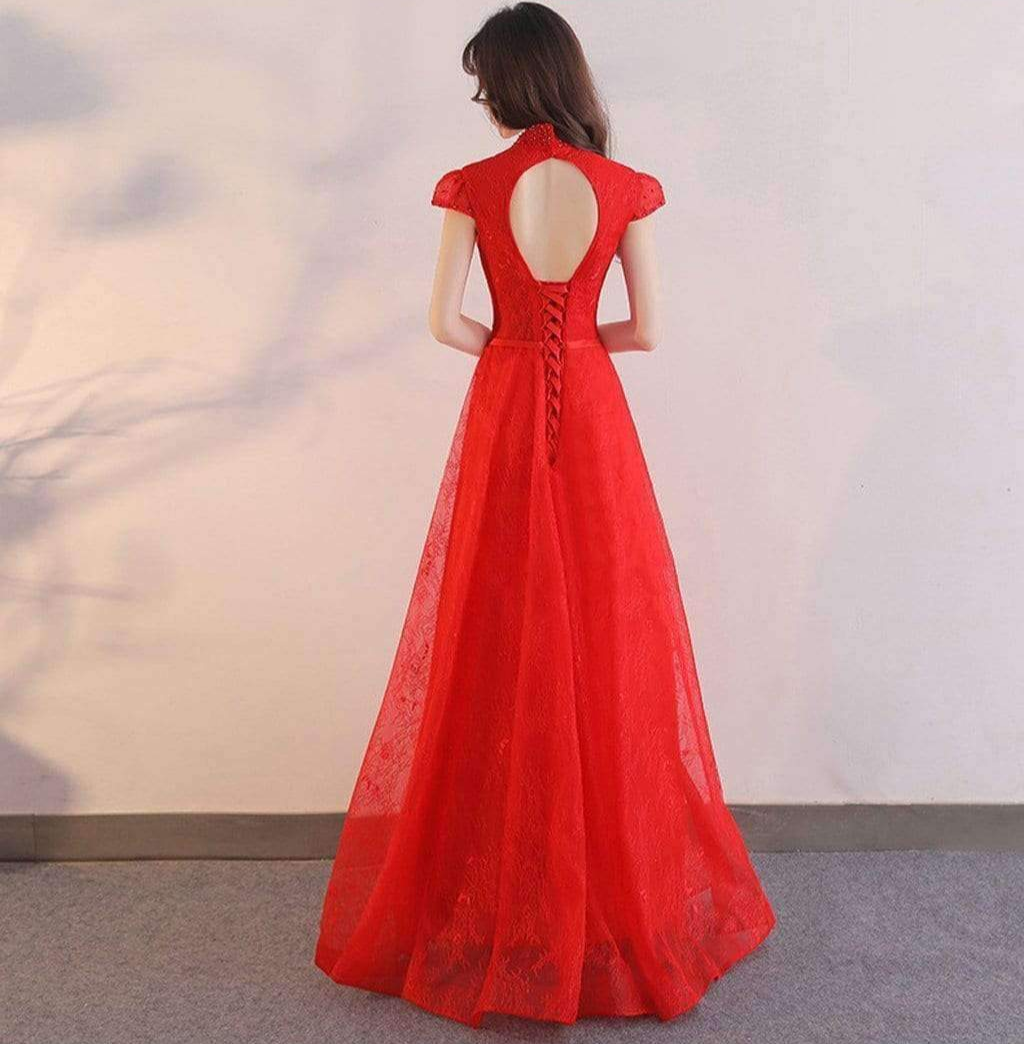 Elegant Cap Sleeve Unique Stand Collar Red Lace Key Hole Back Long  Prom Dresses,PD00019
