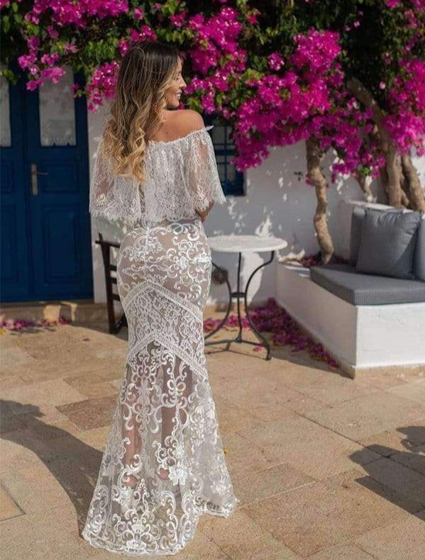 Off Shoulder Lace See Through Mermaid Charming Wedding Dresses, AB1540
