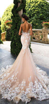 Champagne Lace Applique Scoop Backless Sleeveless Floor length Mermaid Wedding Dresses
