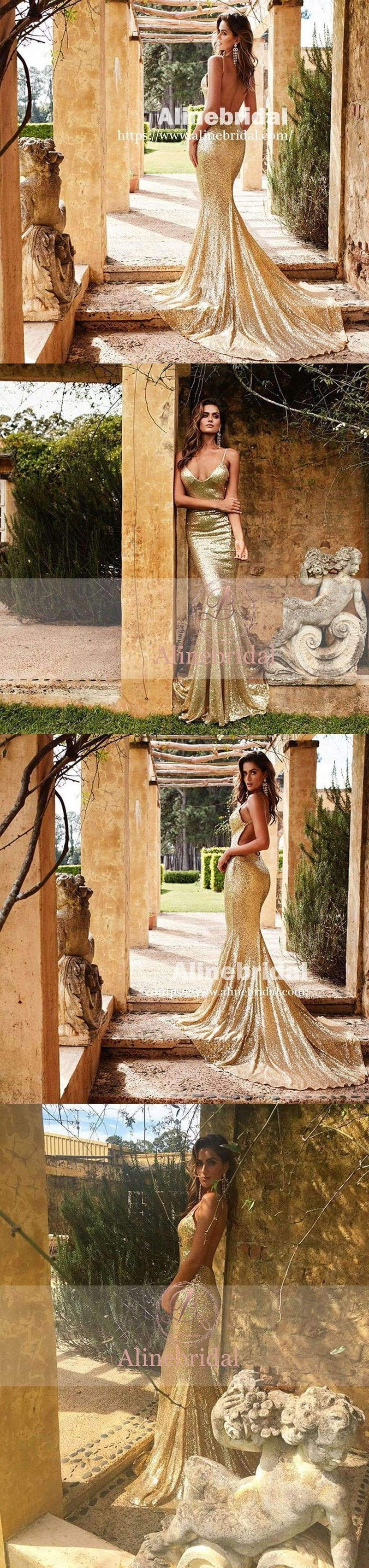 Fashion Popular Gold Sequins Spaghetti Strap Backless Mermaid  Prom Gown Dresses,PD00049