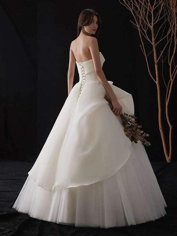 Ivory Strapless Organza A line Beach Wedding Dress 2019 tulle Floor-Length Princess Ball gown