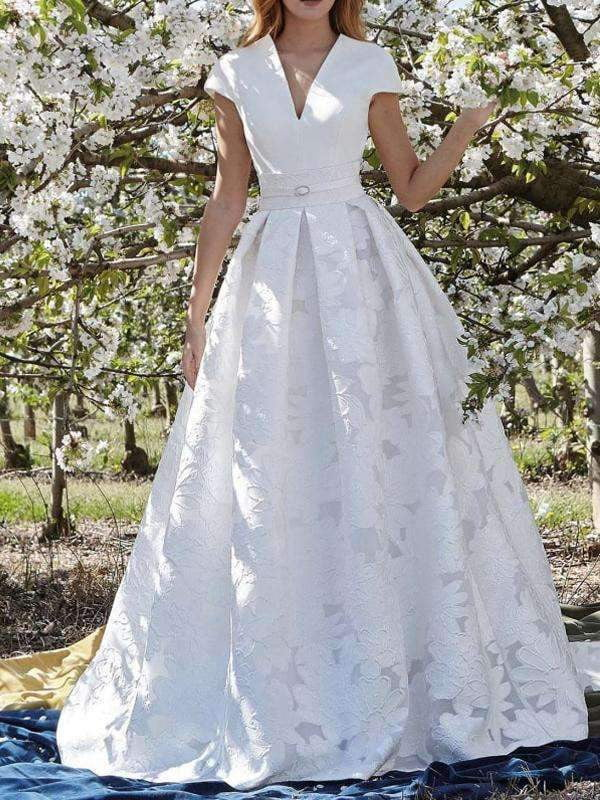 Fashion Unique Lace Floral Satin Cap Sleeve Elegant Wedding Dresses, AB1539