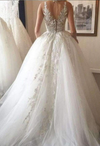 Chic Lace Deep V-neck Neckline With Appliques Wedding Dress W310