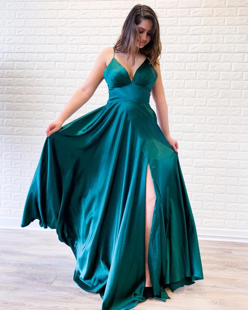 Simple A Line Spaghetti Straps Green Long Prom/Evening Dress Split Front