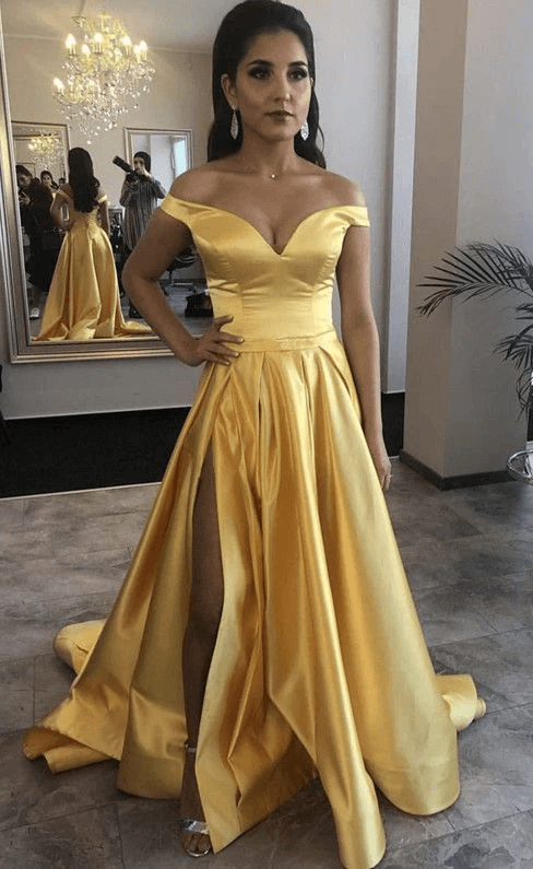 Elegant A Line Off the Shoulder Yellow Long Prom/Evening Dress Split Front