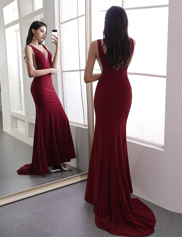 Burgundy Prom Dresses Halter Cris Cross Mermaid Evening Party Dresses