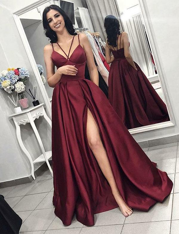 Burgundy Backless  Long Prom Dresses V Neck High Split Front Evening Party Dresses With Train
