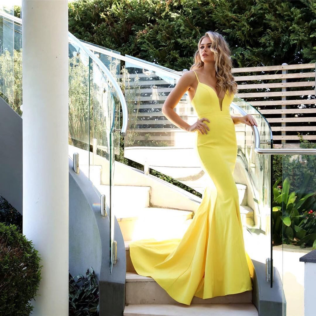 Fashion Mermaid Spaghetti Straps Yellow Long Prom/Evening Dress
