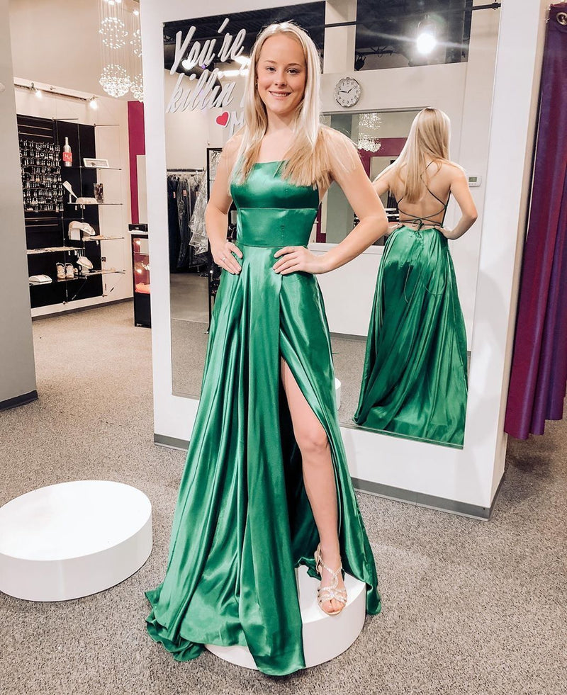 Hot Selling A Line Halter Green Long Prom/Evening Dress Split Front