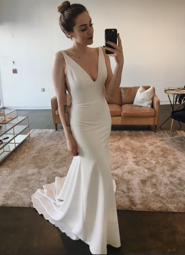 Sexy V Neck Sleeveless Mermaid Prom Dress, Open Back Floor length Evening Dress