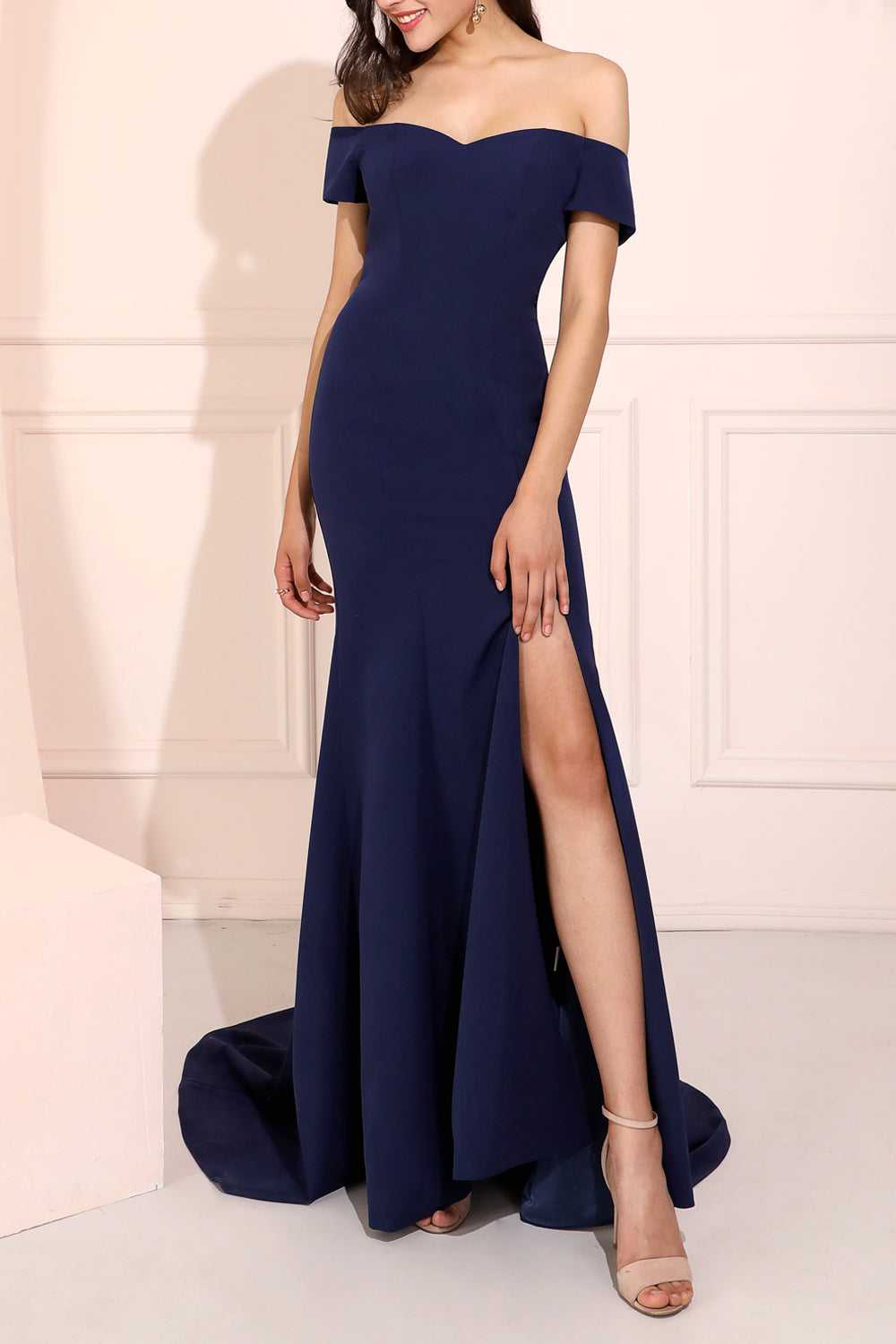 Beauty Mermaid Off the Shoulder Navy Blue Long Prom/Evening Dress Split Front