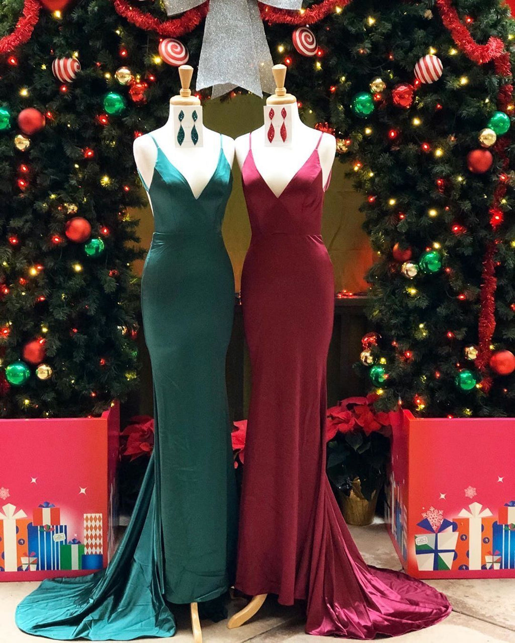 Simple Mermaid Spaghetti Straps Green/Burgundy Long Prom/Evening Dress