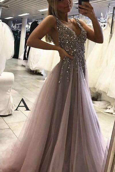 Floor-Length Side Split Prom Dress,Sleeveless Tulle Evening Dress,Long Party Dress P544