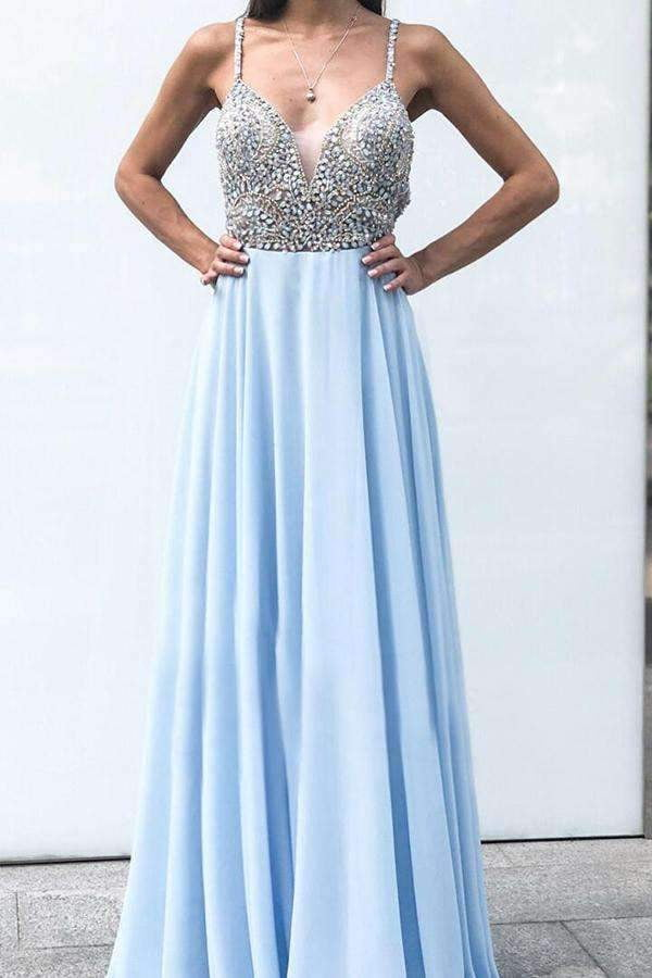 Flossy Spaghetti Straps Prom Dresses A Line Formal Party Dress with Beading P958