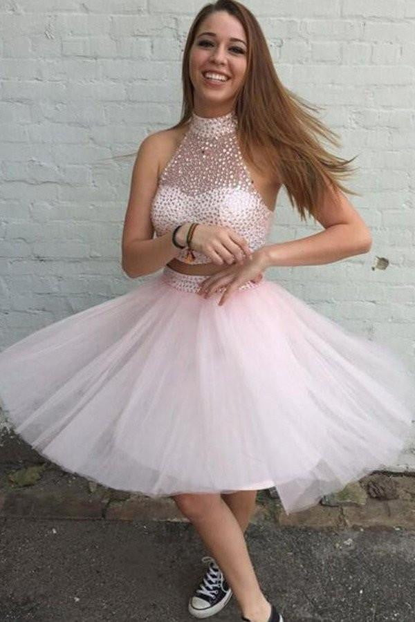 Two Pieces Pink Tulle Short Beading Dress Prom Gowns Homecoming Dresses,AD667
