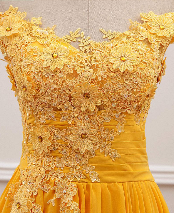 Fashion Yellow Lace Appliques Evening Dress 2020 Mermaid Off-the-shoulder A line Prom dresses