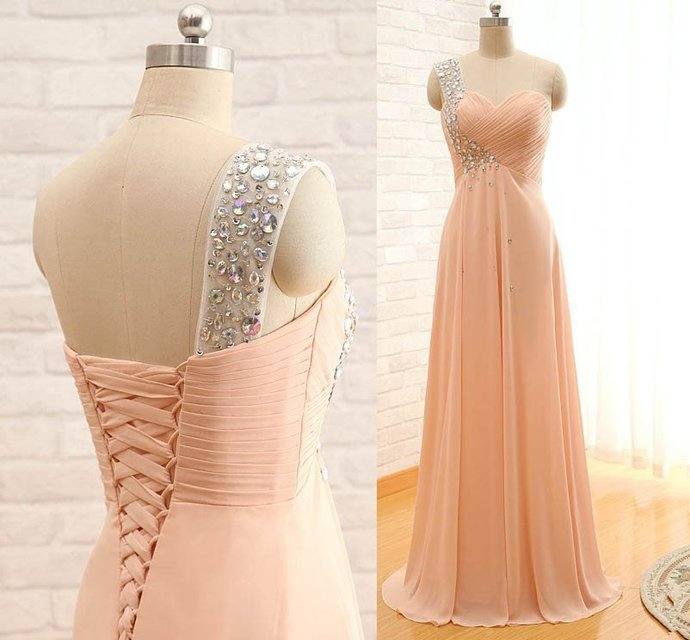 Elegant One-shoulder Sleeveless Chiffon A-Line Prom Dress With Crystals