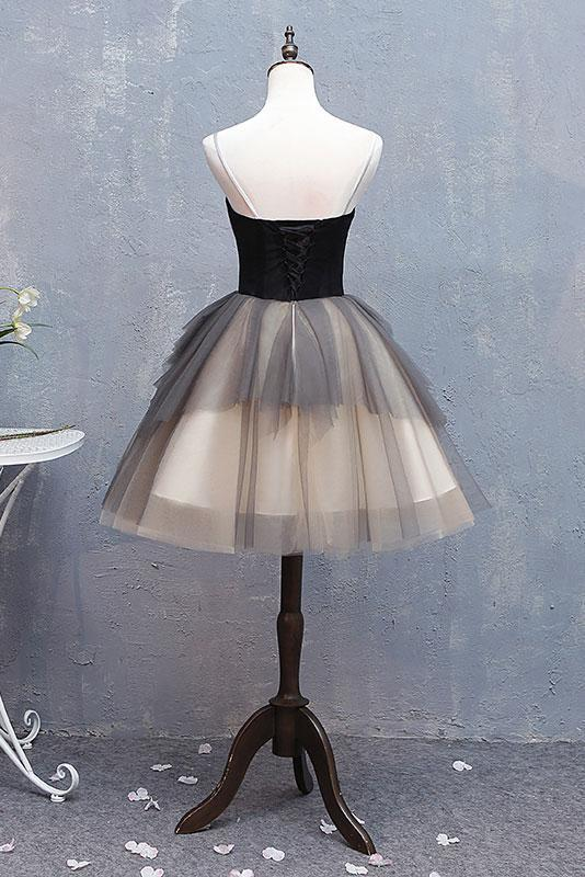 Cute Gray Spaghetti strap tulle short prom dress Black Sweetheart Bubble Homecoming Dresses