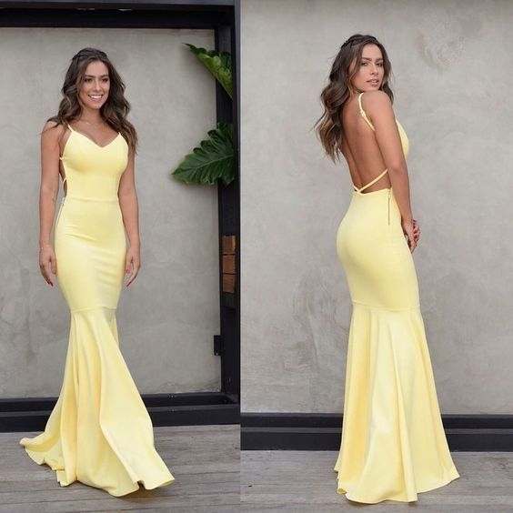 Charming Yellow Backless Prom Dress, Mermaid Spaghetti Straps Satin formal Dress