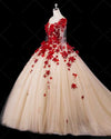 Chic Red Long Puffy Prom Dresses A line Tulle Evening Dress Lace Applique Illusion Floor Length Formal Dress