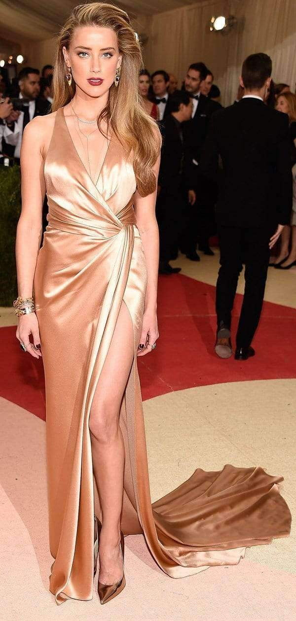 Gold Elastic Satin V-neck Slit Evening Party Sexy Prom Dresses.PD00222
