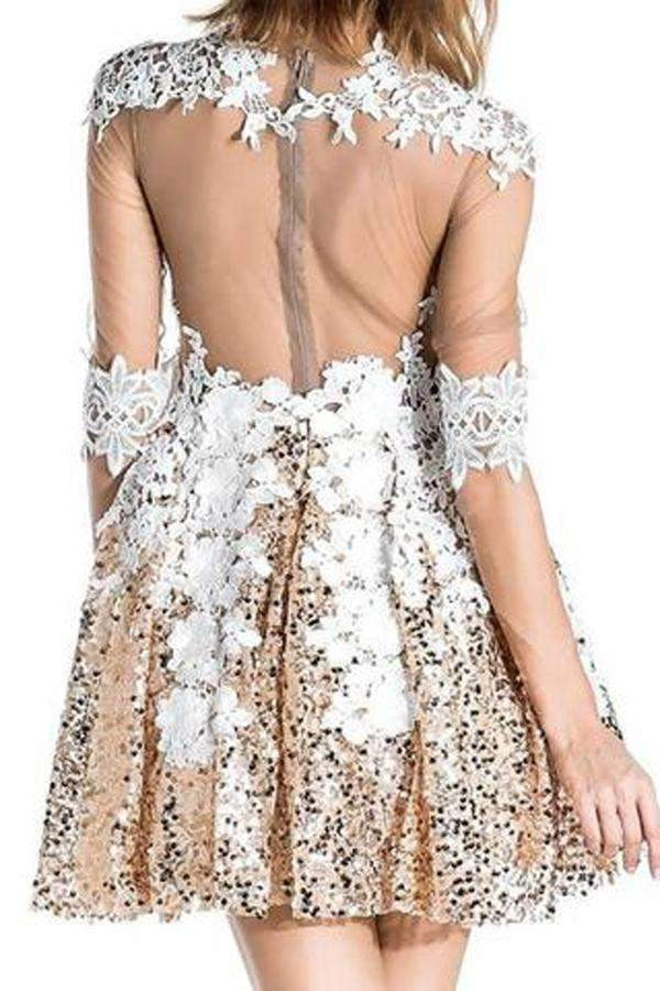 Gold Long Sleeve Sequins Beading Homecoming Dress,Appliques Sheer Short Prom Dress H182