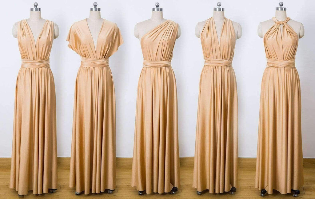 Gold Multiway Wrap Dress,Infinity Bridesmaids Dress,Convertable Dress