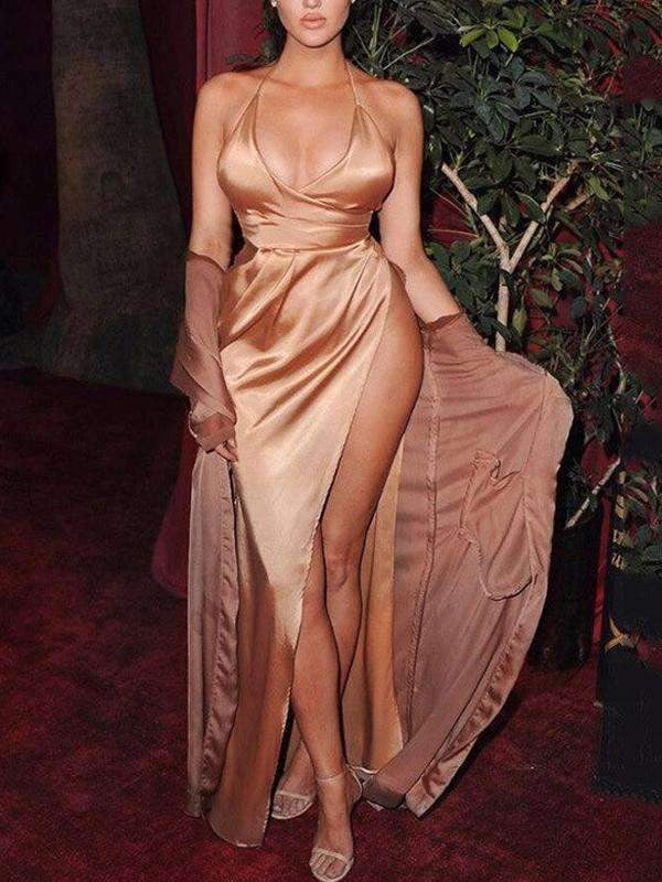 Gold Sapghetti Strap Halter Side Slit Sexy Prom Dresses.PD00231