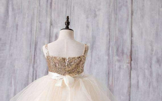Gold Sequin Top Tulle Flower Girl Dresses, Lovely Tutu Dresses for Little Girl, FG052