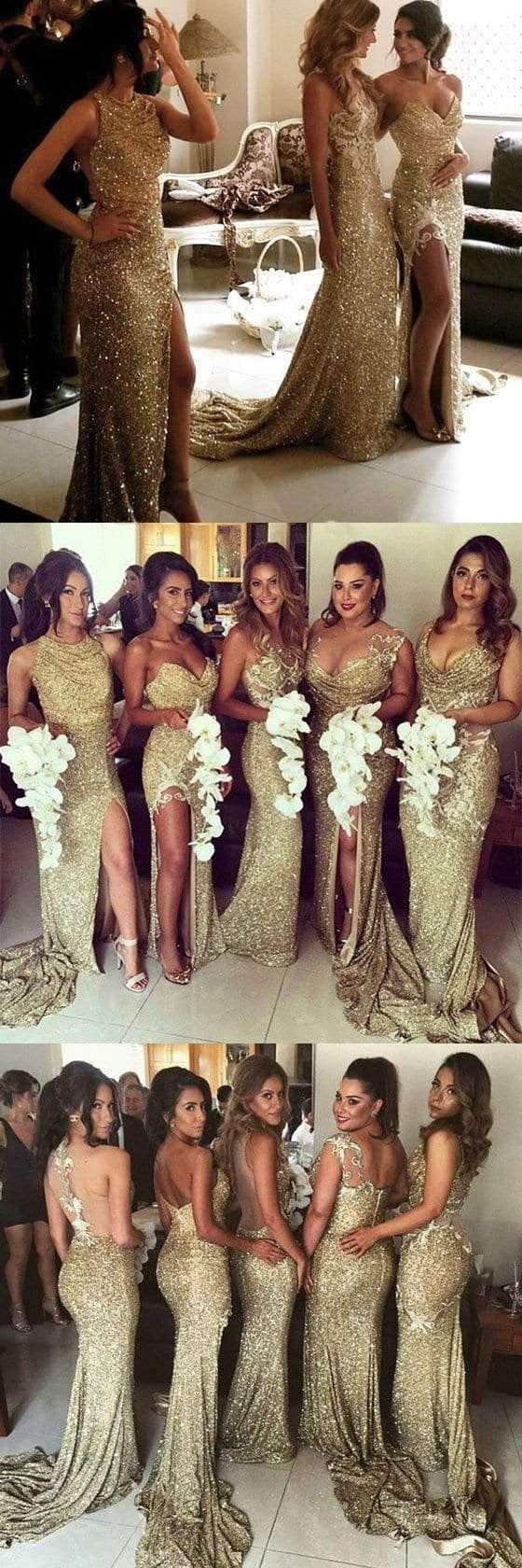 Gold Seuin Side Split Sparkly Women Long Wedding Party Dresses for Bridesmaids, WG86