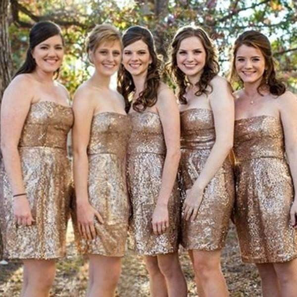 Gold Strapless Sleeveless Short Bridesmaid Dresses Sequin Prom Dresses