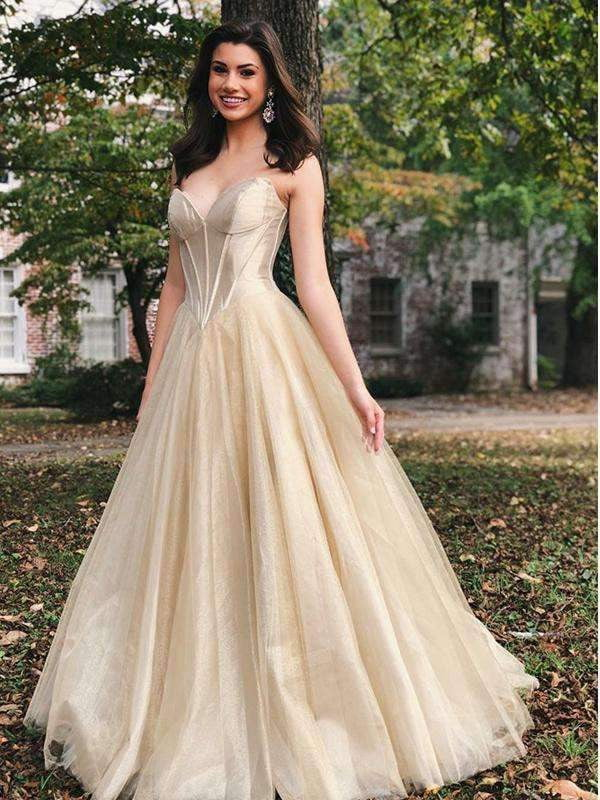 Gold Velvet Tulle Strapless Empire Waist Prom Dresses,PD00174