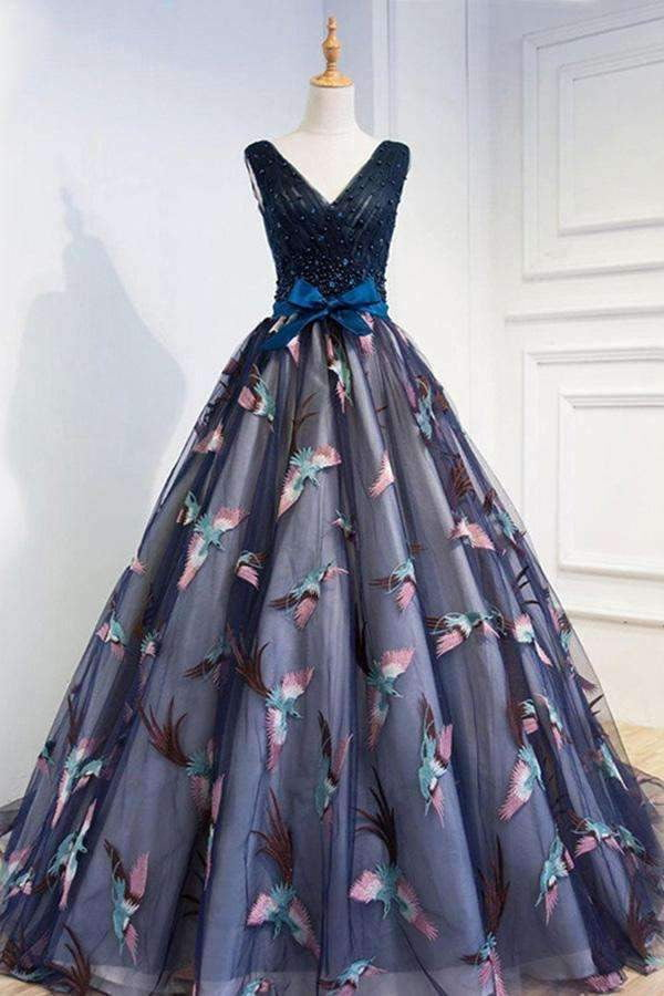 Gorgeous A-Line V-Neck Navy Blue Tulle With Appliques Prom Dress P718