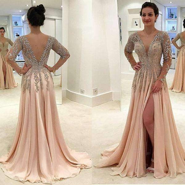 Gorgeous Beaded V-neck V-back Long Sleeve Split Prom Dresses,PD00071