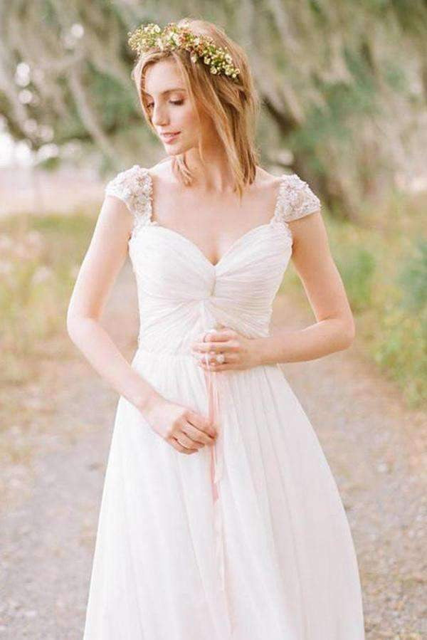 Gorgeous Open Back Sleeveless With Lace Appliques Wedding Dresses W335