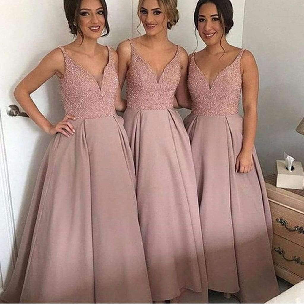 Gorgeous Pretty New Arrival V-Neck Sparkly Long Bridesmaid Ball Gown, WG69