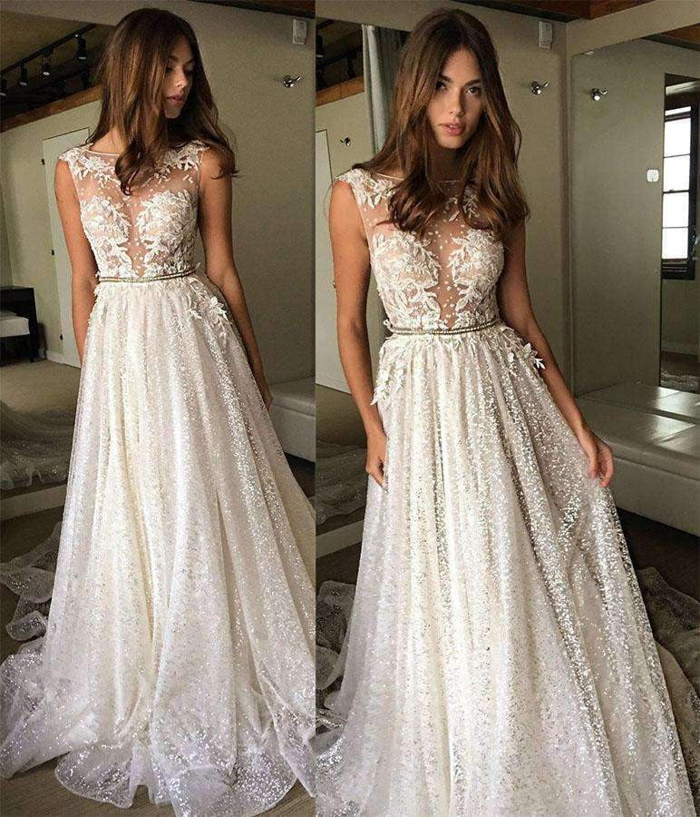 Gorgeous Round Neck Lace With Sequins Wedding Dress W312