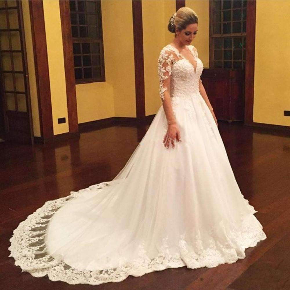 Gorgeous V Neck Ball Gown Long Sleeves Lace Wedding Dress with Appliques W553