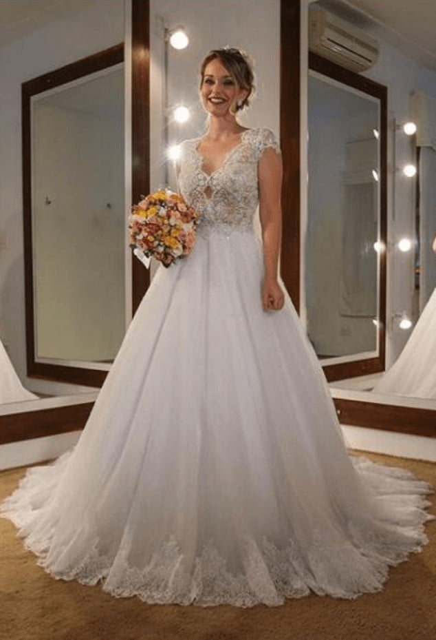 Gorgeous V Neck Open Back Cap Sleeves With Lace Appliques Long Wedding Dress W413