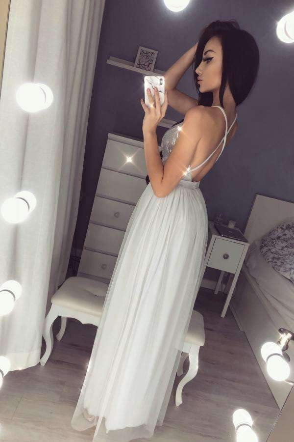 Gray A Line Floor Length Deep V Neck Sleeveless Side Slit Tulle Prom Dress,Party Dress P400