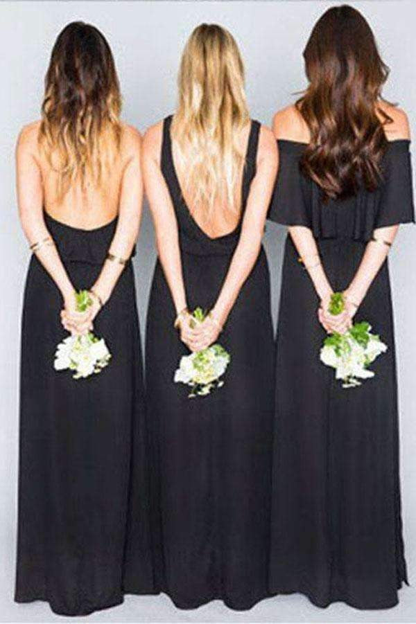 Gray A Line Floor Length Sleeveless Open Back Chiffon Bridesmaid Dresses B266