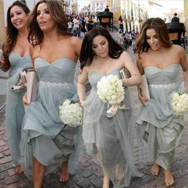 Gray A Line Floor Length Sweetheart Sleeveless Layers Bridesmaid Dress, Wedding Party Dress B349